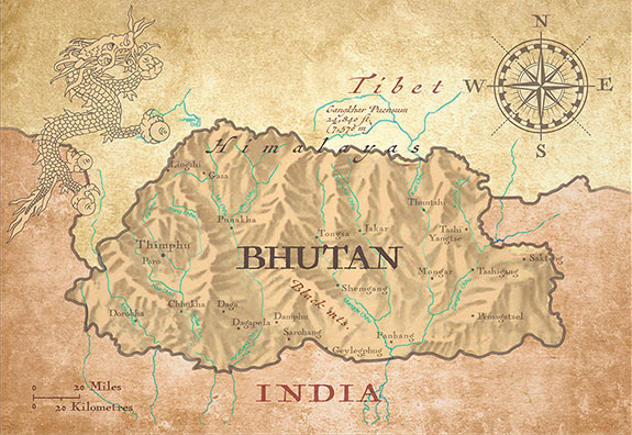 Map of Bhutan. The race goes from Bumthang to Thimphu